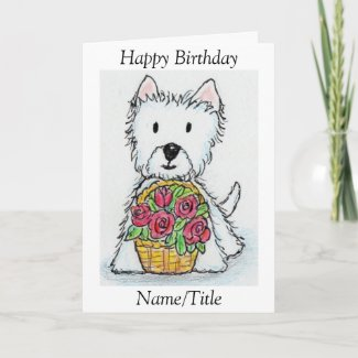 Westie roses Birthday greeting card personalize