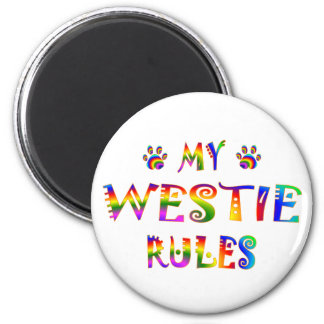 Westie Rules Fun 2 Inch Round Magnet