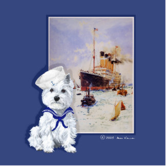 Westie Sailor and Travel Poster Statuette