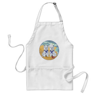 Westie Sailor Twins at the Beach Adult Apron