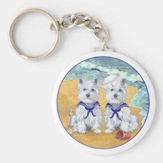 Westie Sailor Twins at the Beach Basic Round Button Keychain
