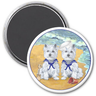 Westie Sailor Twins at the Beach Refrigerator Magnets