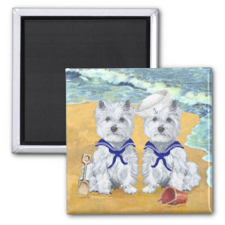 Westie Sailor Twins at the Beach Magnets