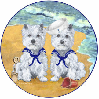 Westie Sailor Twins at the Beach Photo Sculpture