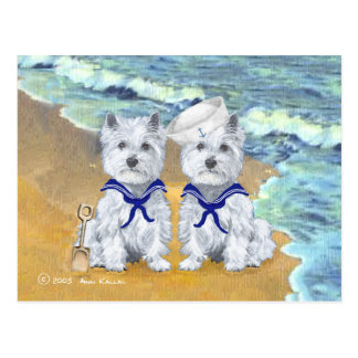 Westie Sailor Twins at the Beach Postcard