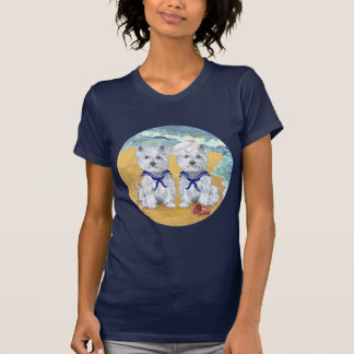 Westie Sailor Twins at the Beach Tee Shirts