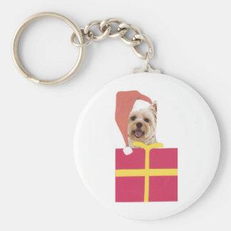 Westie Santa Hat Gift Box Basic Round Button Keychain