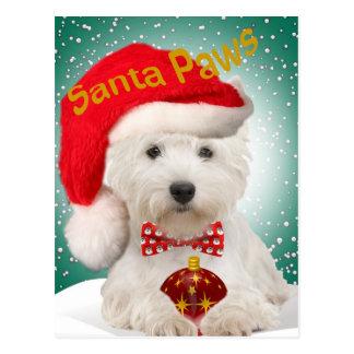 Westie Santa Paws Postcards