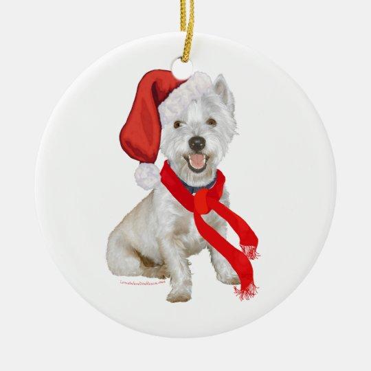 Westie Santa's Helper Ceramic Ornament