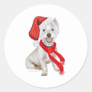 Westie Santa's Helper Classic Round Sticker