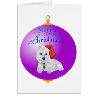 Westie Santa's Helper Ornament Card