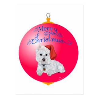 Westie Santa's Helper Ornament Postcard