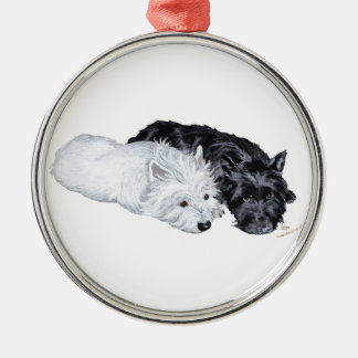 Westie & Scottie at Ease Metal Ornament