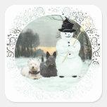 Westie & Scottie Build a Snowman Square Sticker