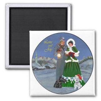 Westie & Scottie Christmas Carols 2 Inch Square Magnet