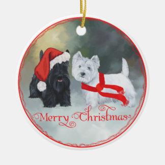 Westie Scottie Christmas Ceramic Ornament