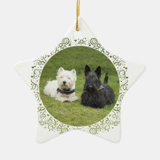 Westie & Scottie Green Grass Ceramic Ornament