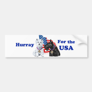 Westie & Scottie Hooray for USA Car Bumper Sticker