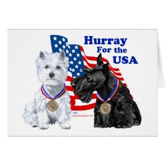 Westie Scottie Hooray for USA Greeting Card