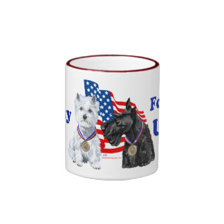 Westie Scottie Hooray for USA Mugs