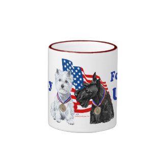 Westie & Scottie Hooray for USA Ringer Mug