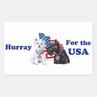 Westie & Scottie Hooray for USA Rectangular Sticker