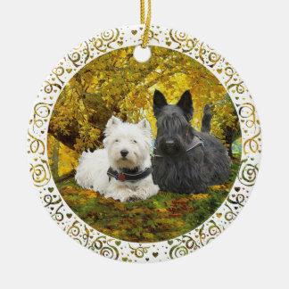 Westie & Scottie in Autumn Ceramic Ornament