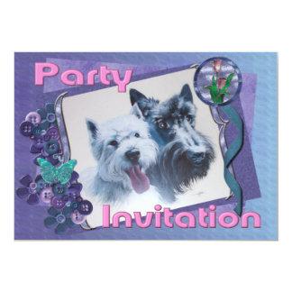 Westie & Scottie Invitation: Template 5x7 Paper Invitation Card