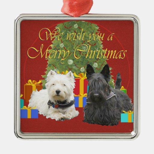 Westie & Scottie Merry Christmas Square Metal Christmas Ornament
