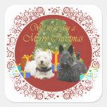 Westie & Scottie Merry Christmas Square Stickers
