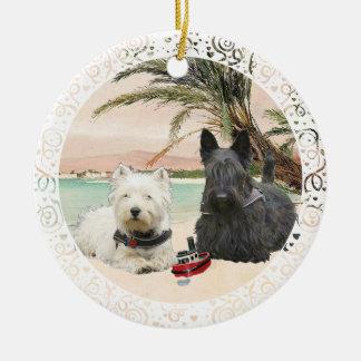 Westie & Scottie on Palmy Beach Ceramic Ornament