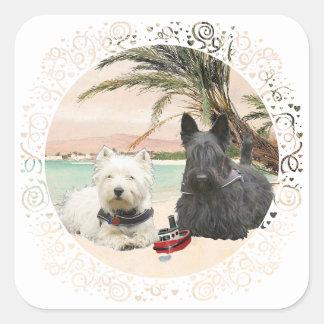 Westie & Scottie on Palmy Beach Square Sticker
