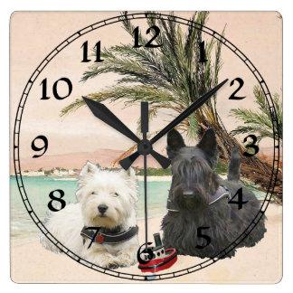 Westie & Scottie on Palmy Beach Square Wall Clock
