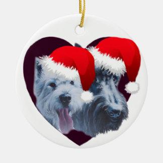 Westie & Scottie Santa Ceramic Ornament