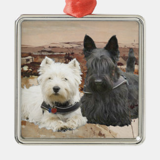 Westie & Scottie Together Autumn Metal Ornament