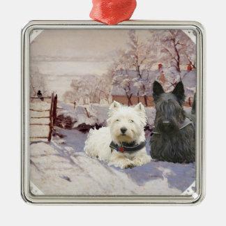 Westie & Scottie Winter Magpie Metal Ornament