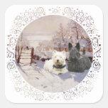 Westie & Scottie Winter Magpie Sticker