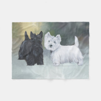 Westie Scottie Wintertime Fleece Blanket