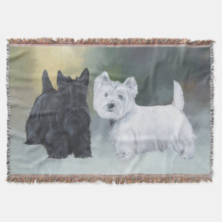 Westie Scottie Wintertime Throw Blanket