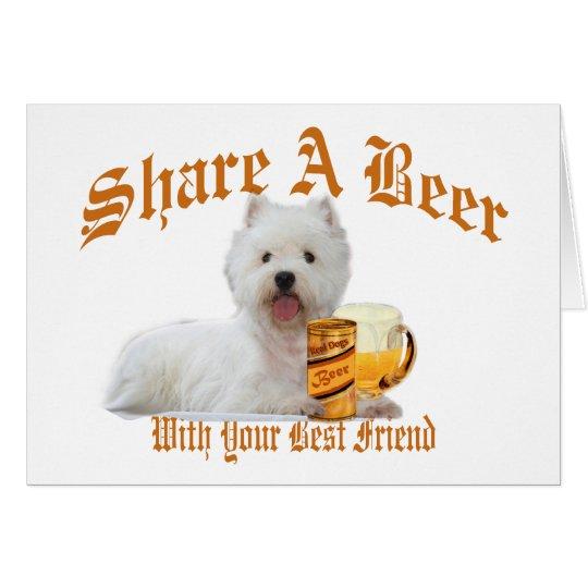 Westie Shares Beer Greeting Card