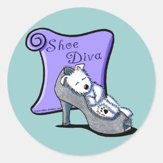 Westie SHOE DIVA Classic Round Sticker