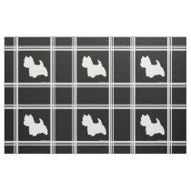 Westie Silhouette on Black Fabric