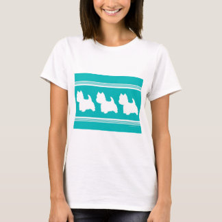 Westie Silhouette on Turquoise T-Shirt