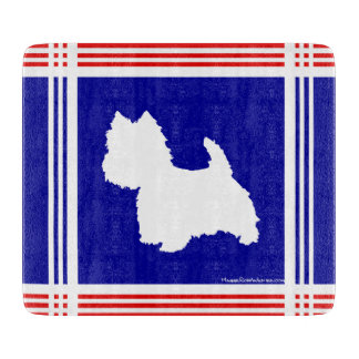 Westie Silhouette Red, White, Blue Cutting Board