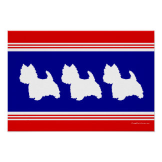 Westie Silhouette Red, White, Blue Poster