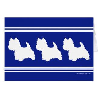 Westie siluetea blanco en azul tarjeta de felicitación