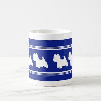 Westie siluetea blanco en azul tazas