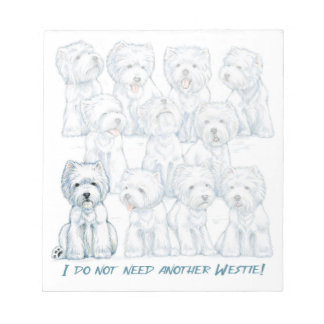 """Westie """"Sit Stay"""" Note Pad by Borgo"""