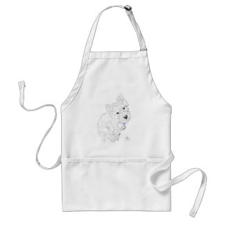 Westie siting at my feet adult apron