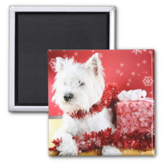 Westie Snowflake Holiday Design 2 Inch Square Magnet
